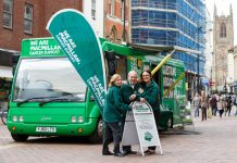 Margaret Watts (Information Specialist), Jeremy Burnam (Information Specialist) and Moray Hayman (Facilities Officer) with Betty, the Macmillan Mobile Information Bus