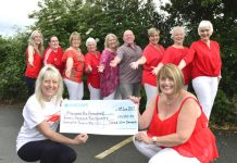 Maria Jones (LEFT) and Sandra Speck with just a few of the charity fundraisers, pictured at Ellesmere