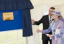 HRH Princess Alexandra unveils a plaque during her last visit to The Robert Jones and Agnes Hunt Orthopaedic Hospital on 21 July 2011