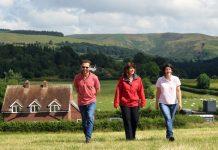 Agricultural consultants Philip and Gillian Preece with HSBC Agriculture Manager Sue Jones on Briar Edge Farm, Church Stretton