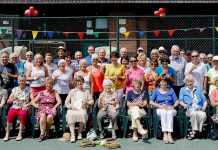 Guests celebrate Lilleshall Village Tennis Club's 40th anniversary (click photo to enlarge)
