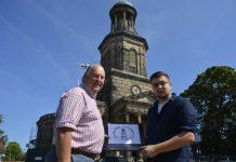 Nick Paterson and Seth Jurgens outside St Chad's church in Shrewsbury