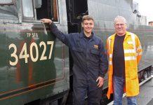 SVR engineering apprentice George Brogan and Sir Peter Hendy CBE, chairman of Network Rail