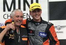 George Sutton with his Dad, as he scooped first place on the podium up at Oulton Park