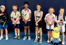 These youngsters represented Shropshire in the Aegon 9U County Cup at Edgbaston Priory last weekend and are now looking forward to competing in the Shropshire Junior County Championship, from left: Kornel Rogaczewski, Sam Spiby, Sarvesh Karthikeyan Kilariaar, Adela Home, Sian Collins and Isla Linney with team mascot Kevin