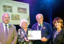 Pictured at the awards are Cllr John Minor (Telford & Wrekin Council), Mavis Derham (Past-President Ironbridge Lions), Charlie Miller (President Ironbridge Lions), Cllr Angela McClements (Telford & Wrekin Council)