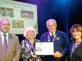 Pictured at the awards are Cllr John Minor (Telford & Wrekin Council), Mavis Derham (Past-President Ironbridge Lions), Charlie Miller (President Ironbridge Lions), Cllr Angela McClements (Telford & Wrekin Council)