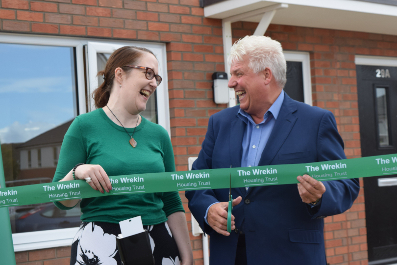 Caroline Cormack and Wayne Gethings cut the ribbon to official open Shropshire's first modular buildings