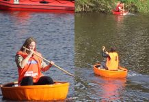 Katie Hughes-Beddows and Bryony Cook in the coracles during last year's race
