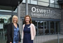Sara Shelston, Assistant Principal Quality and Student Services at NSC with Angela Creighton, Contract Manager at Shropshire Community Leisure Trust outside Oswestry Leisure Centre
