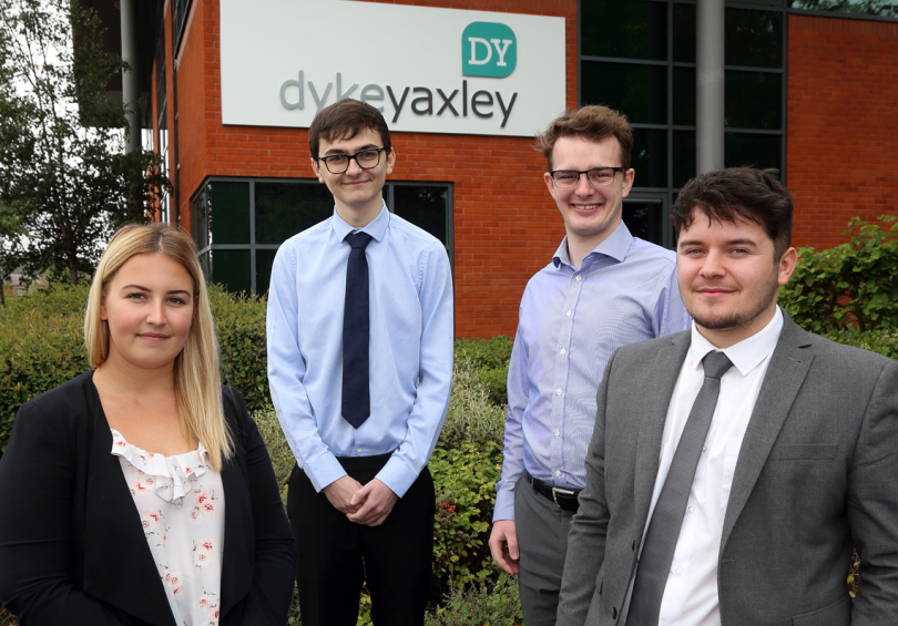 Starting their careers at Dyke Yaxley are four of the new trainees Nicole Groake, Joe Moore, Christopher Judge and Ross Evans