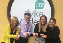 Staff from Dyke Yaxley Chartered Accountants with their pedometers prepare for the Steps Challenge – from left, Jackie Young, Chris Judge, Rhian Harding and Nicole Groake