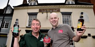 Jonathan Holden of Holden's Brewery and Andy Ward of FBC Manby Bowdler at the Golden Lion in Bridgnorth