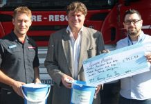 Firefighter Andy Davies with Mike Perry of the Severn Hospice and police officer Marvin Choudhury