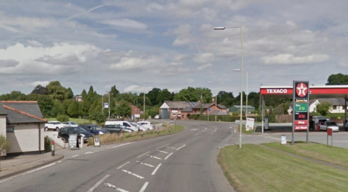 The collision happened outside Grindley Brook Garage on the A41. Photo Google Street View
