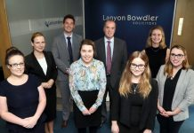 Kelly Pledger, Gosia Bronisz-Handley, Mathew Hughes, Amy Bills, Colin Spanner (partner), Myfanwy Murray, Catherine Field and Gemma Williams