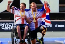 Alex Krol and, right, Shropshire's Kevin Drake celebrate their Invictus Games success in Toronto. Photo: Getty Images