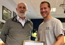 Kevin Drake, right, receives a certificate of achievement from Ian Hulme, the treasurer of Ford British Legion, in recognition of being selected for the Invictus Games
