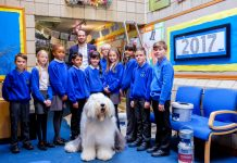 As part of their prize, the school received a visit from the Dulux Dog and Matthew Burton, Dulux's celebrity ambassador from Educating Yorkshire