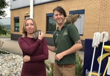Lena Eastment, Corporate Inside Sales Executive at Lyreco meets a meerkat and a genet with Scott Adams from the Exotic Zoo