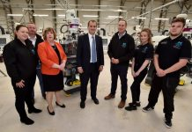 Bekki Phillips (In-Comm Training), Christopher Greenough (Salop Design & Engineering), Gill Hamer (Marches LEP), Jake Berry (Minister for Local Growth and the Northern Powerhouse), Matthew Snelson (MCMT), Lauren Ball, Liam Stewart-Inkson (MCMT Apprentices)