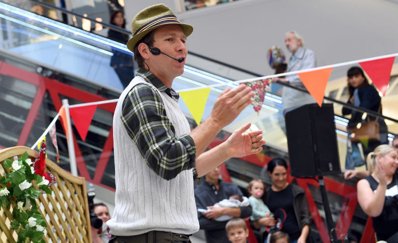 Mr Bloom entertains the crowd at the Darwin Centre Shrewsbury