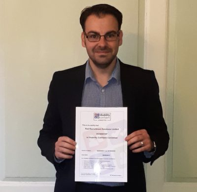 Recruitment Manager, Rob Griffiths with the certificate