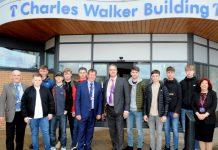 Jeff Fletcher, principal Graham Guest and Carol Smith from Telford College, and McPhillips contracts director Andrew Dunham, with the new apprentices - Jake Berriman, Jack Humphreys, Daniel Higginbottom, Regan Stanford, Jamie Evans, Oliver Lear, Lyen Cherrington, Jack Taylor, and Kian Campion