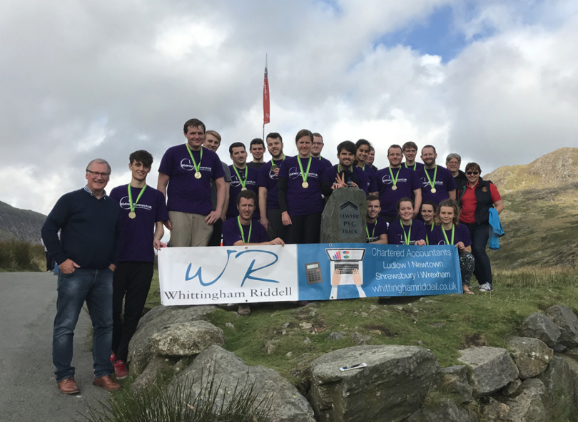 The team at Snowdon after completing their challenge