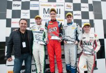 Rob Smith second from left on the podium at Donington Park Grand Prix Circuit. Photo: Mark Campbell/CarScene UK Media