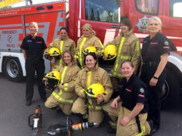 Ruth Walkerdine (far left), Michelle Townsend (far right) and Sarah Cartwright (front right) spoke about their life as firefighters to would be recruits at Market Drayton fire station.