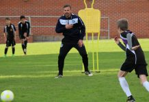 Former Leicester City midfielder Richie Wellens on the training pitch with academy players