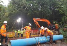 Engineers have replaced an 18ft section of pipe following the burst. Photo: @stwater