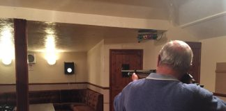 Allan Darby for the Cock Inn shooting his sixth shot at the Bell Target