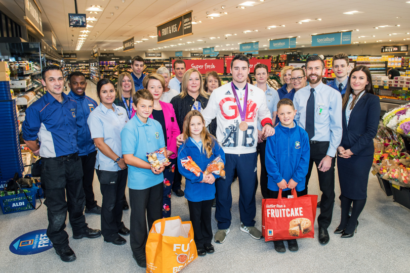 Aldi store team, Team GB Kristian and children from Beanstalk