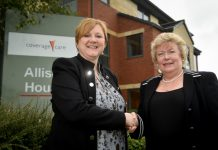 Debbie Price with Leslie Mason, Peripatetic team manager for Coverage Care Services