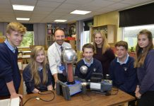 Danielle Goffe-Wood of Galliers Homes presents new Science equipment to the staff and pupils at the Corbett school, from left, Harry Jones, Georgia King, head of science Hayden Jones, Charlie Jones, Danielle Goffe-Wood of Galliers, Aaron Greenaway and Gorgy Wixey
