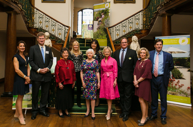 Kate Hill-Trevor, John Warburton-Lee (Appeal Patron), Lady Trevor (Appeal Patron), Bunny Guinness (Oswestry Garden Designer), Tricia Norris (Chair of The League of Friends), Olivia Chapple (Executive Trustee of Horatio's Garden), Celia Jenkins (The League of Friends), David Chapple (Trustee of Horatio's Garden), Victoria Sugden (The League of Friends), The Hon Iain Hill-Trevor
