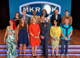 Jacqueline and Andrew are pictured top left with contestants from the show My Kitchen Rules and with presenters Glynn Purnell and Rachel Allen