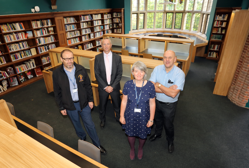 John Taylor, Head of Estates at Shrewsbury School, Steve Flavell, Construction Manager at Morris Property, Jo Elliot, Librarian and Steve Granda, Joinery Manager
