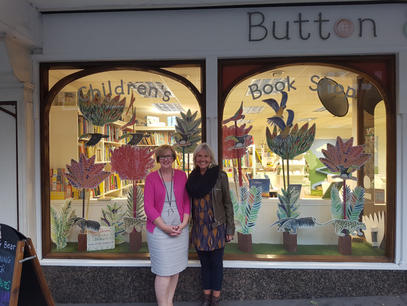 Nicola in front of her touring window display with Button & Bear owner Louise Chadwick