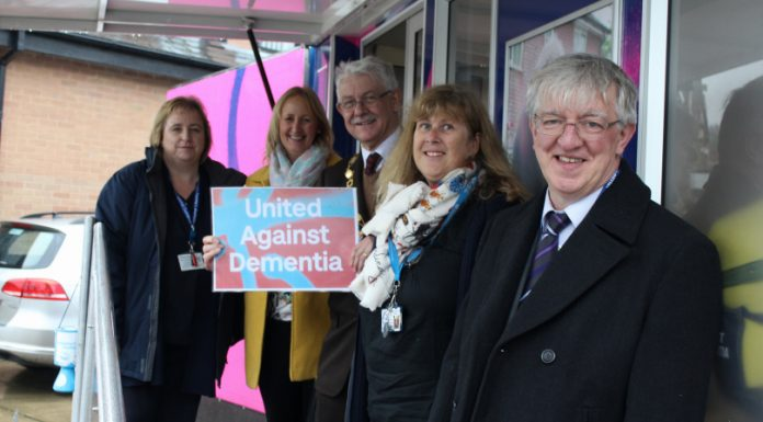 Mayor Hilda Rhodes, Dementia Support Worker Andrea Maddox, Information Worker Phil Gillam and Dementia Support Worker Rihela Nazir