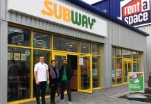 Ryan Talbot, Rebecca Welch and Harry Sing outside the new Subway