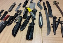 Knives handed in to Shrewsbury Police Station