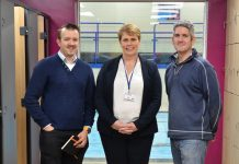 Matt Spinks, director and senior architect with Johnson Design Partnership; Sue Underhill of Bridgnorth Endowed School and David Morgan of contractors Openspace Design and Build