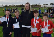 Telford & Wrekin Langley, winners of Y7 boys cross country, with guest of honour Beth Partridge