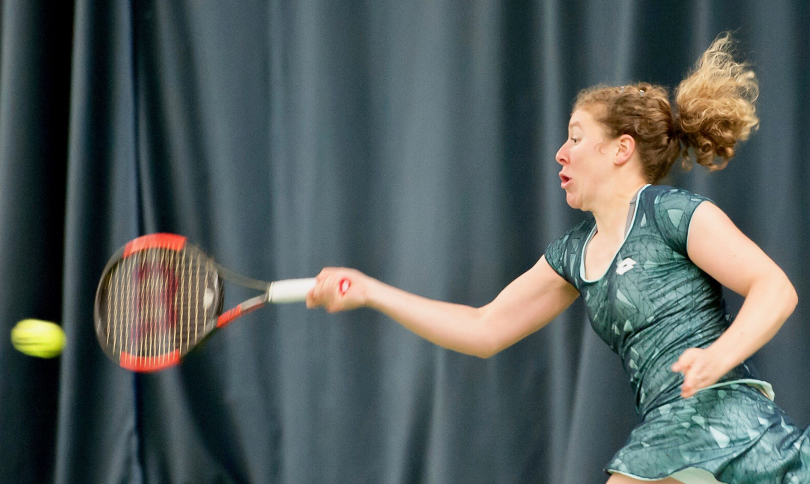 Anna-Lena Friedsam in action during her quarter-final victory at The Shrewsbury Club yesterday. Photo: Richard Dawson Photography