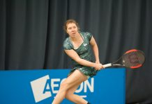 Anna-Lena Friedsam in action at The Shrewsbury Club yesterday. Photo: Richard Dawson Photography