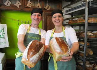 Bakers Martin Priddy and Kate Warwick, of Bread And Loaf, with their 'Shropshire Whey' loaf which won a silver award at the World Bread Awards