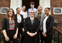 FBC Manby Bowdler's Managing Partner Kim Carr (centre) with the firm's apprentices (from left to right): Chloe Turner, Abigail Noakes, Jade Higgins, Jacob Evans, Dixie Whitten, Rowan Jones